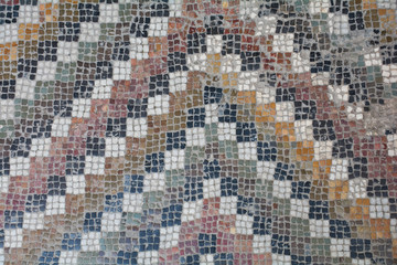 Ancient, old mosaic. decorative art. Abstract texture and background for design, templates, cards, ornaments.