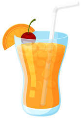 Summer Orange Juice on White Background