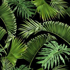 Tropical leaves black pattern