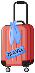 A Red Travel Luggage on White Background