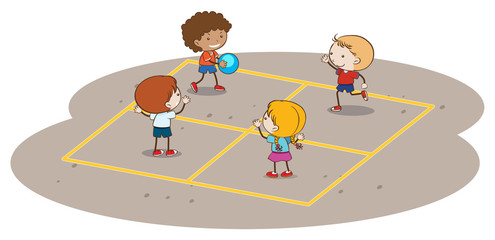 Kids Playing Handball on White Background