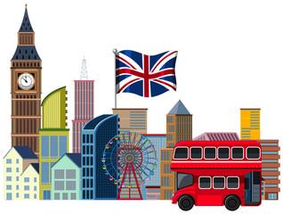 An British Travel Element on White Background