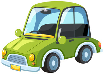 A Green Modern Car on White Background
