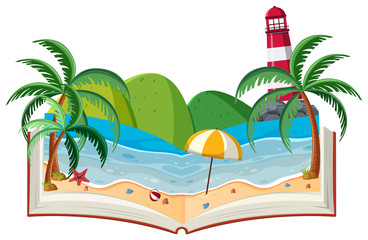 A 3D Book Beach Theme