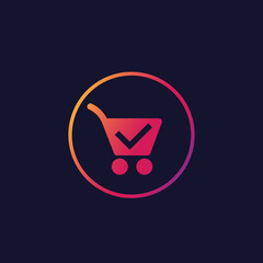 shopping cart, completed order vector icon