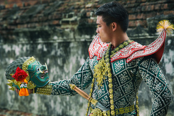 Khon tradition culture performing art the mask of Ramakien or Ramayana story in Thailand and Asia.