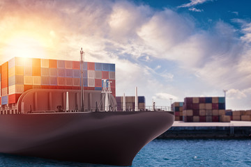 Cargo ship at the port ready to travel with packages. 3d rendering