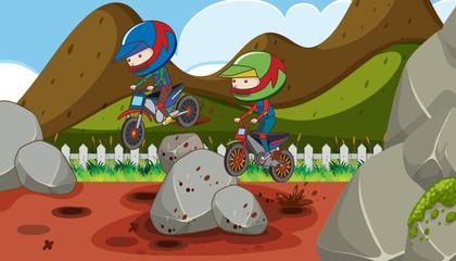 A Motocross Racing in Mountain