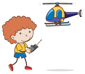 A Boy Playing Helicopter Toy