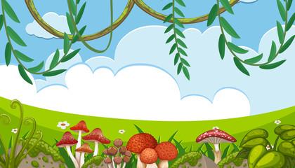 Mushroom and Vine in Nature Landscape