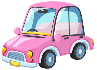 A Modern Pink Car on White Background