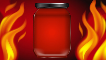 Hot Fire Jar on Red Background