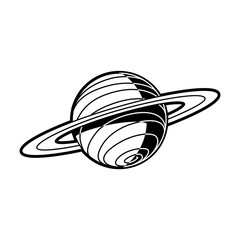 Planet Saturn with rings - celestial body of solar system isolated on white background. Black and white outer space astronomy object. Vector illustration of cosmos element.