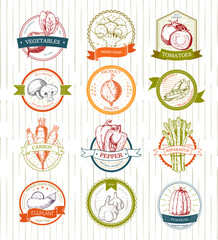 Vegetables logo vector vegetably logotype tomato or carrot for vegetarians and label of healthy organic food in grocery shop illustration vegetated badges set isolated on white background