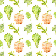 Pepper bell, herbs and greenery seamless pattern
