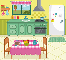 Vector illustration of a cartoon kitchen for general use.
