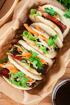 Gua bao, steamed buns with pork belly and vegetable