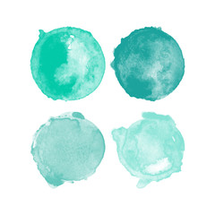 Set of blue watercolor high resolution hand painted round shapes, stains, circles, blobs isolated on white. Illustration for artistic design