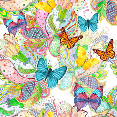 ethnic seamless texture with magic flora and butterflies. watercolor painting