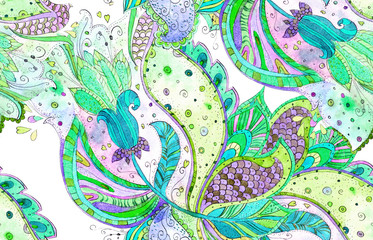 ethnic seamless texture with magic flora. watercolor painting