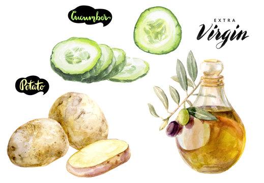 potato cucumber olive oil watercolor