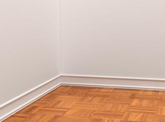 деревянный пол паркет и белые стены крупным планом. 3d иллюстрации