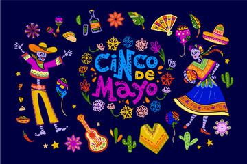Vector cinco de mayo set of mexico traditional elements, symbols & skeleton characters in flat hand drawn style isolated on dark background. Mexican celebration, national patterns & decorations, food.