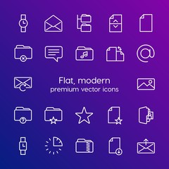 Modern Simple Set of folder, time, files, email Vector outline Icons. Contains such Icons as  15,  folder,  information,  send, business and more on gradient background. Fully Editable. Pixel Perfect