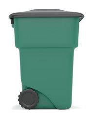 Green closed container for garbage isolated on white background. 3d rendering.
