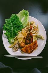 A Dish of Mixed Buffet Korean Food.
