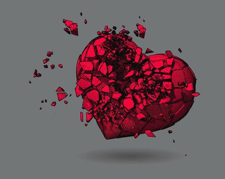 Heart breaking vector drawing illustration