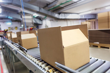 Cardboard boxes on conveyor belt. Board, package.