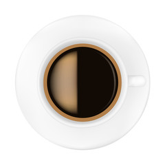 Coffee Cup on saucer isolated on white background.Vector illustration.