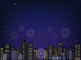 花火と都市の夜景