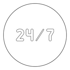 24/7 service  icon black color in circle or round