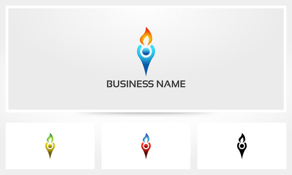 Human Holding Fire Torch Logo