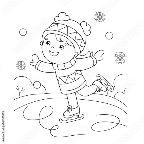 """Coloring Page Outline Of cartoon girl skating. Winter ..."