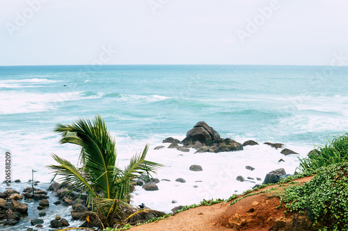 Travel And Tourism Concept Beautiful Tropical Island Beach Landscape Fishing Boat In Transparent