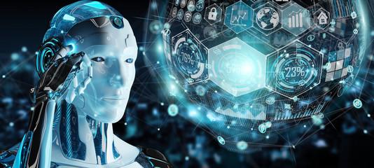 Fototapeta White male cyborg using digital chart interface 3D rendering
