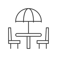 Beach umbrella on table and chair outline  icon