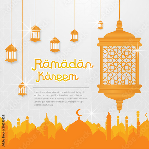 ramadhan kareem post card template with lantern and mosque