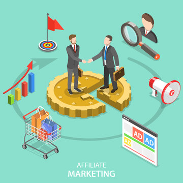 Flat isometric vector concept of affiliate marketing strategy, referral program, business partnership.