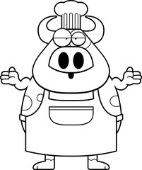Confused Cartoon Cow Chef