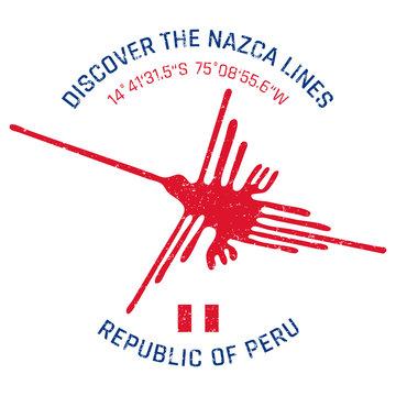 Nazca Lines (Peru) grunge button/stamp