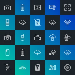 Modern Simple Set of cloud and networking, mobile, video, photos, bookmarks Vector outline Icons. Contains such Icons as  and more on dark and gradient background. Fully Editable. Pixel Perfect.
