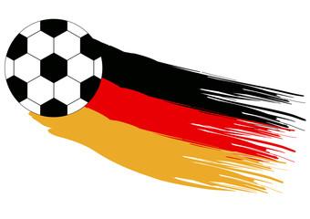 WM-Motiv für Deutschland. Mit Fussball und Flagge. Eps 10 Vector-Datei