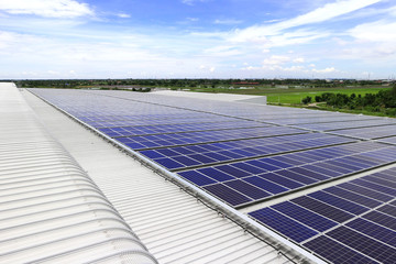 Solar PV Rooftop under Blue Sky