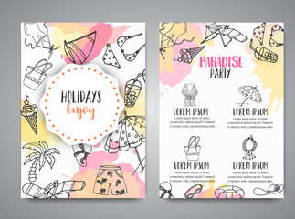 Summer hand drawn brochure. Beach doodle elements. Vacation and trevel to the sea Sketch Vector