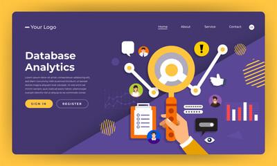 Mock-up design website flat design concept digital marketing.Data information analystic. Vector illustration.