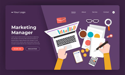 Mock-up design website flat design concept marketing manager.  Vector illustration.